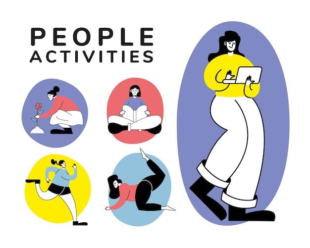 Grupa kobiet ćwiczących projektowanie ilustracji postaci