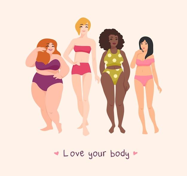 Grupa kobiet o różnej rasie, wzroście, typie sylwetki i rozmiarze, ubranych w kostiumy kąpielowe i stojących razem