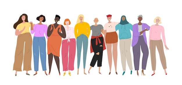 Grupa kobiet o różnym pochodzeniu etnicznym i kulturach stojących razem. kobiecy kolektyw, przyjaźń, związek.