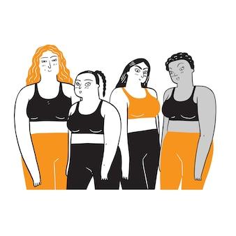 Grupa kobiet o różnym pochodzeniu etnicznym i kulturowym. rysowanie ilustracji w stylu liniowym