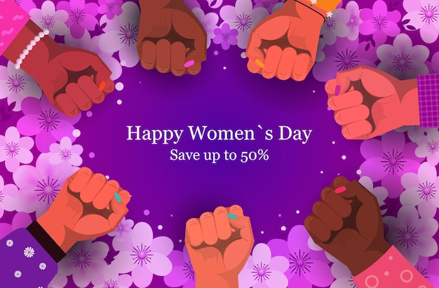 Grupa kobiet podnosi pięści na baner wyprzedaży z okazji 8 marca
