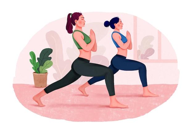 Grupa kobiet uprawiających jogę w pomieszczeniu zajęcia jogi