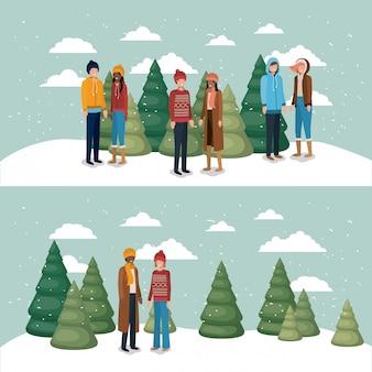 Grupa kobiet w śniegu z ubrania zimowe
