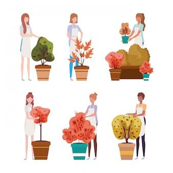 Grupa kobiet z jesiennych roślin