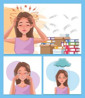 Grupa kobiet z objawami stresu i stos dokumentów