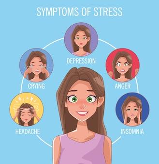 Grupa kobiet z objawami stresu wektor ilustracja projektu