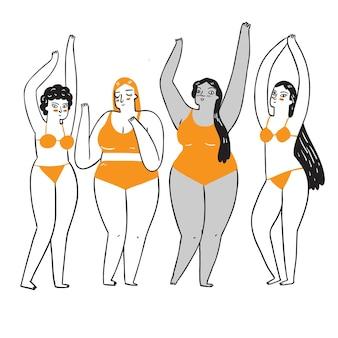 Grupa kobiet z różnych grup etnicznych i kultur w strojach kąpielowych. rysowanie ilustracji w stylu liniowym