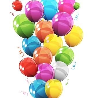 Grupa kolorów błyszczące balony helowe tło zestaw balonów na urodziny obchody rocznicy dekoracji