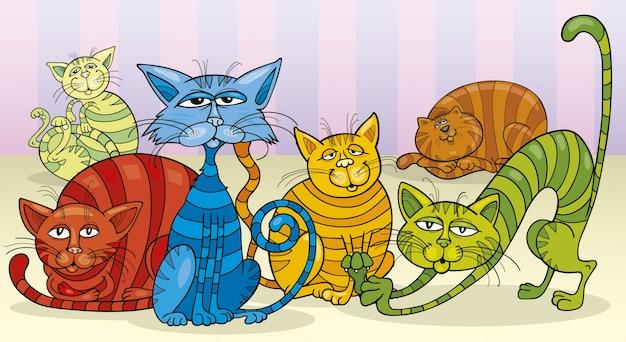Grupa kolorów kotów