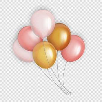 Grupa kolorowych błyszczących balonów helowych