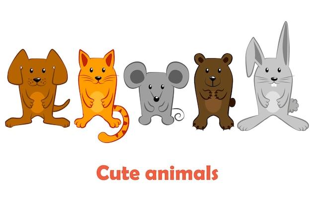Grupa kreskówka domowych i dzikich zwierząt. ustaw postać zwierząt kota, psa, myszy, królika.