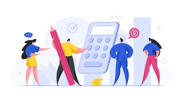 Grupa księgowych bierze pod uwagę roczny dochód finansowy koncepcji firmy. postacie męskie i żeńskie obliczają swój zysk pieniężny poprzez dobre zarządzanie. bogata inwestycja depozytowa