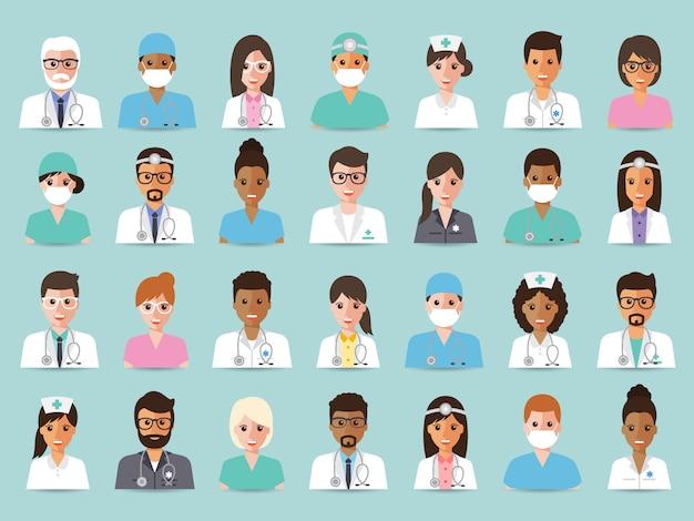 Grupa lekarzy i pielęgniarek oraz awatar personelu medycznego.
