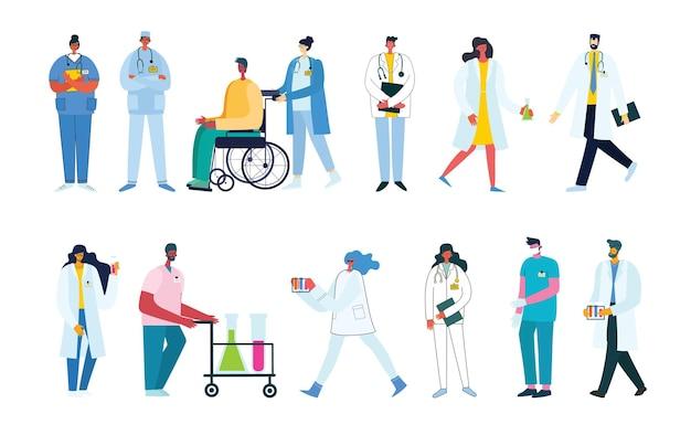Grupa lekarzy i pielęgniarek oraz postaci personelu medycznego