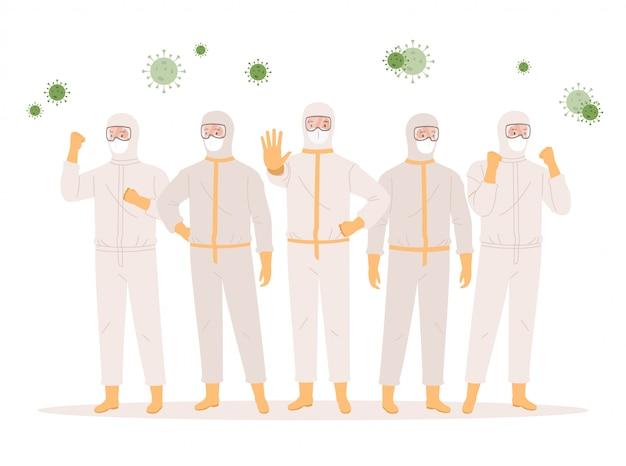 Grupa lekarzy lub pracowników służby zdrowia w kombinezonach ochronnych, okularach i maskach medycznych. koncepcja ochrony koronawirusa. ilustracja w stylu płaskiej