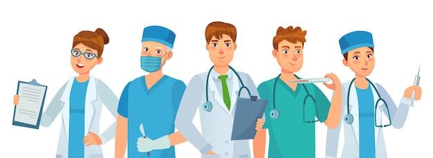 Grupa lekarzy. młodzi pracownicy medyczni, zespół szpitalny i lekarz przychodni