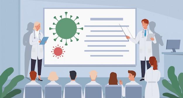 Grupa lekarzy na konferencji. lekarze próbują znaleźć szczepionkę przeciwko koronawirusowi.