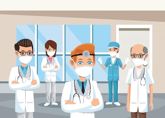 Grupa lekarzy noszących maski medyczne