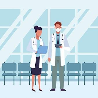 Grupa lekarzy noszenie masek medycznych wewnątrz poczekalni