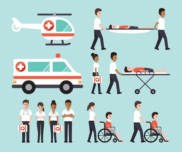 Grupa lekarzy, pielęgniarek, ratowników medycznych i personelu medycznego.