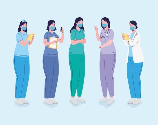 Grupa lekarzy płci żeńskiej