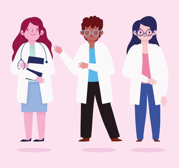 Grupa lekarzy postacie medyczne