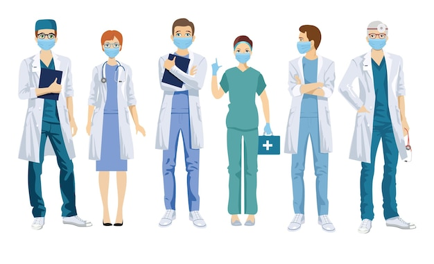 Grupa lekarzy w maskach medycznych.