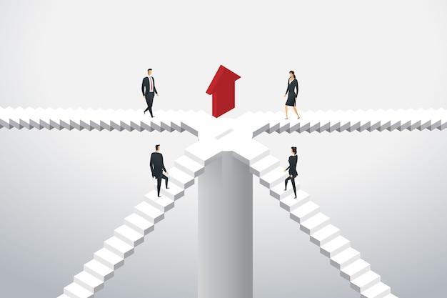Grupa ludzi biznesu idą po schodach, aby czerwona strzałka wskazywała cel. ilustracja koncepcja izometryczna
