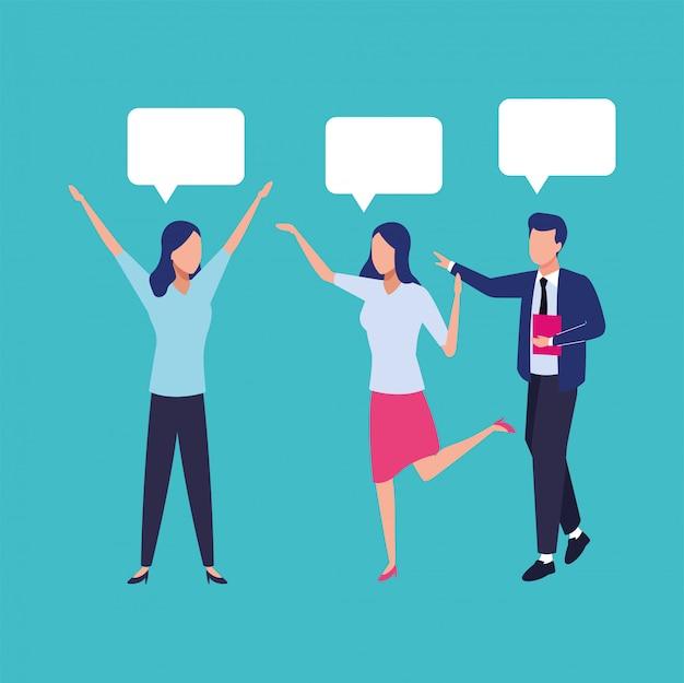 Grupa ludzi biznesu pracy zespołowej z postaciami pęcherzyków mowy