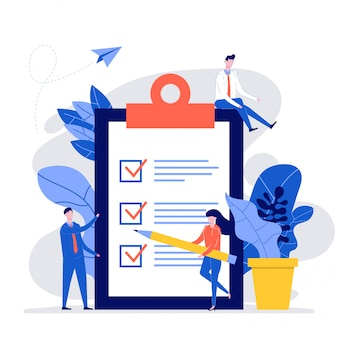Grupa ludzi biznesu tworzących nowoczesną listę kontrolną z ołówkiem i schowkiem lub zadaniem biznesowym.