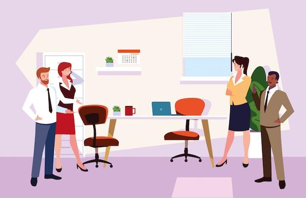 Grupa ludzi biznesu w biurze pracy, skoordynowana praca w przyjaznym zespole w biurze