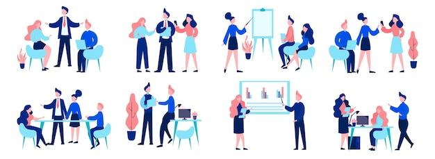 Grupa ludzi biznesu w pracy, spotkanie biurowe, koncepcja pracy zespołowej. profesjonalna komunikacja. zestaw ilustracji