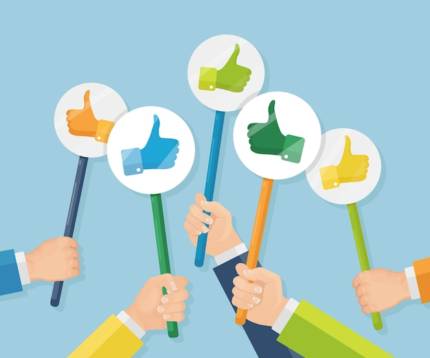 Grupa ludzi biznesu z kciuki do góry. media społecznościowe. dobra opinia. referencje, opinie, koncepcja recenzji klienta.