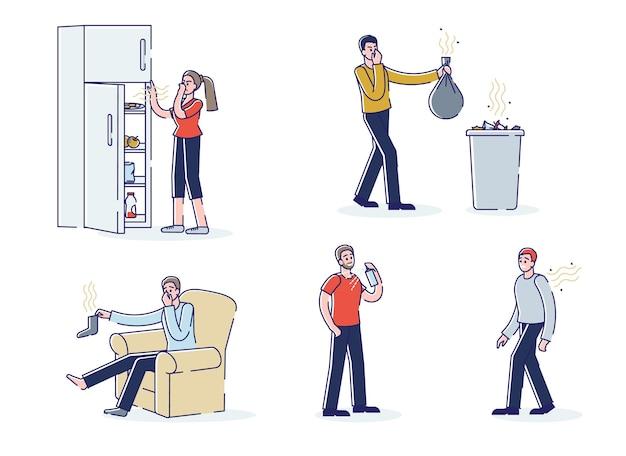 Grupa ludzi cierpiących na nieprzyjemny zapach z worka na śmieci, śmierdzącego ciała, skarpet i zepsutego jedzenia