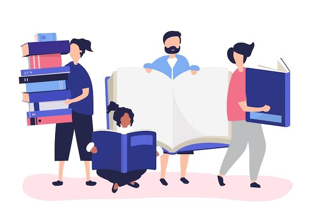 Grupa ludzi czytająca i pożyczająca książki