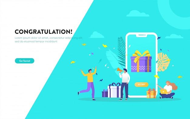 Grupa ludzi dostaje ilustrację nagrody online, szczęśliwi ludzie otrzymują prezent, cyfrowe polecenie