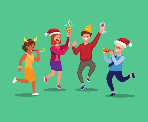Grupa ludzi imprezuje w boże narodzenie lub nowy rok sezon kreskówka wektor ilustracja