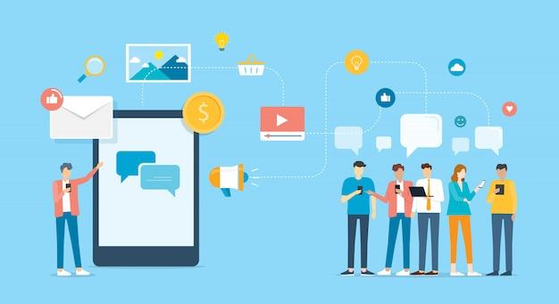 Grupa ludzi komunikuj się i kontaktuj się z biznesem za pomocą aplikacji mobilnej i koncepcji sieci społecznościowej