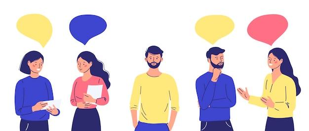 Grupa ludzi komunikuje się ignorując introwertycznego wyrzutka
