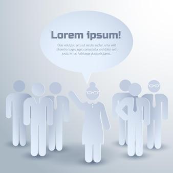 Grupa ludzi koncepcja pracy zespołowej na temat komunikacji w pracy i umiejętności przywódczych