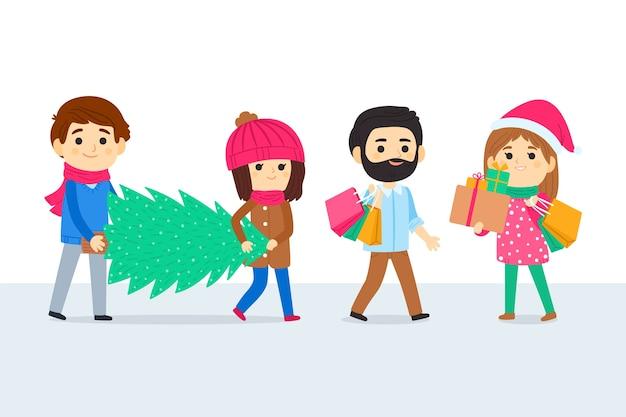 Grupa ludzi kupujących prezenty świąteczne