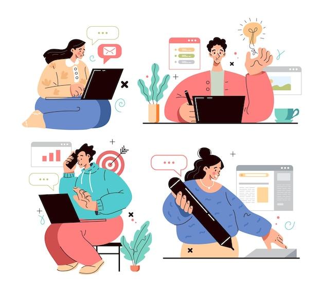 Grupa ludzi mężczyzna kobieta charakter pracy przy komputerze
