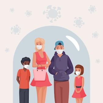 Grupa ludzi, mężczyzna, kobieta i dzieci w maskach twarzy, stojąc pod szklaną kopułą ilustracja kreskówka.