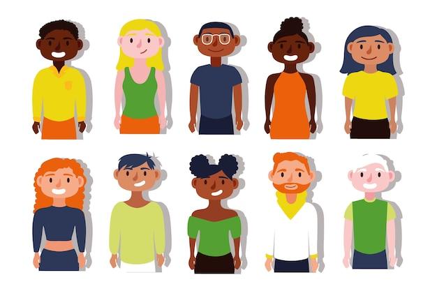 Grupa ludzi międzyrasowych postacie inkluzyjne