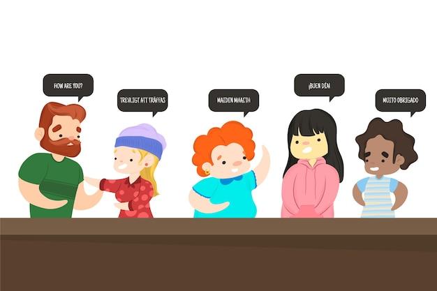 Grupa ludzi mówiących różnymi językami