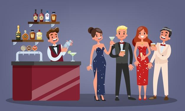 Grupa ludzi na koktajl. kobieta w pięknej sukni