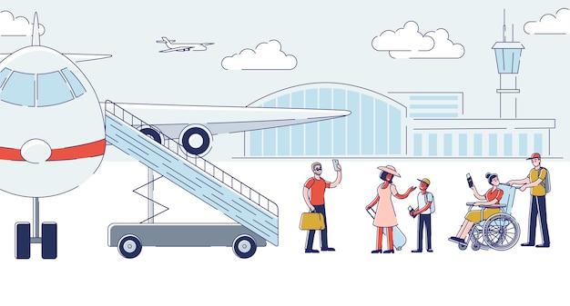 Grupa ludzi na pokład samolotu do odlotu. kreskówka pasażerowie wchodzący do samolotu trzymający bagaż przed podróżą