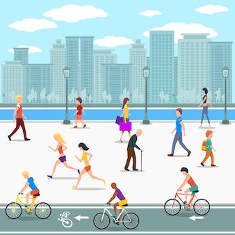 Grupa ludzi na promenadzie przy ulicy rzeki miasta. płaska ilustracja.