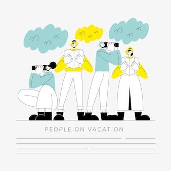 Grupa ludzi na wakacyjnych postaciach