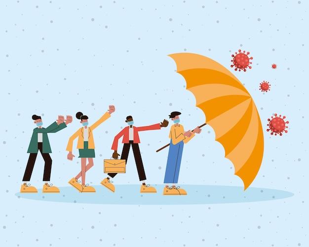 Grupa ludzi noszących maskę medyczną z parasolem chroniącym covid19